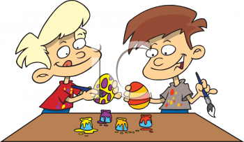 Children Painting Easter Eggs Clip Art.