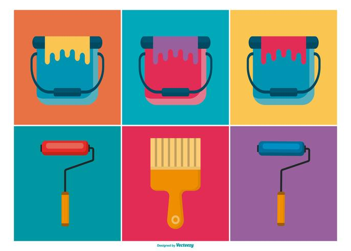 Paint Brushes and Buckets Icon Collection.