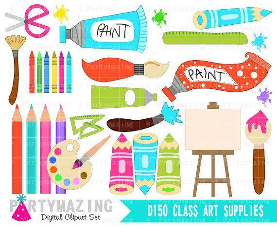 Art Class ClipArt, Art Class Supplies, Paint Clipart, Art Party.