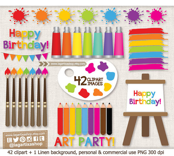 Art Party Clipart Images PNG Painting Art Class Birthday.
