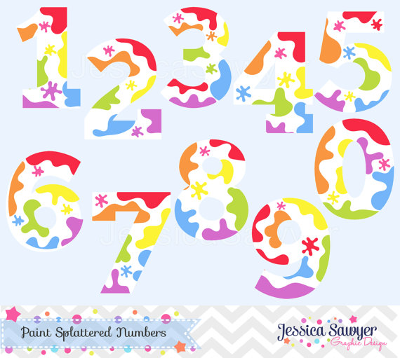 INSTANT DOWNLOAD, art party clipart, rainbow paint numbers, number.