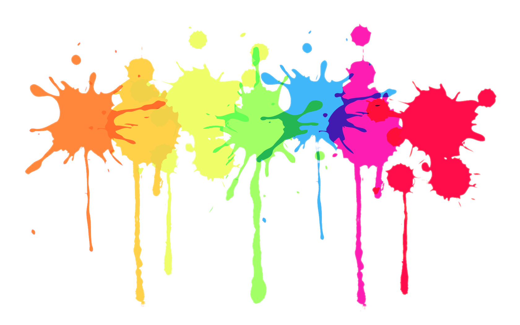 Multicolour Paint Splatter transparent PNG.