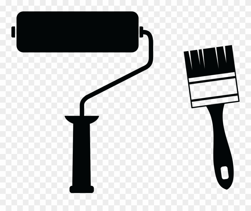 Free Clipart Of A Paint Roller And Brush.