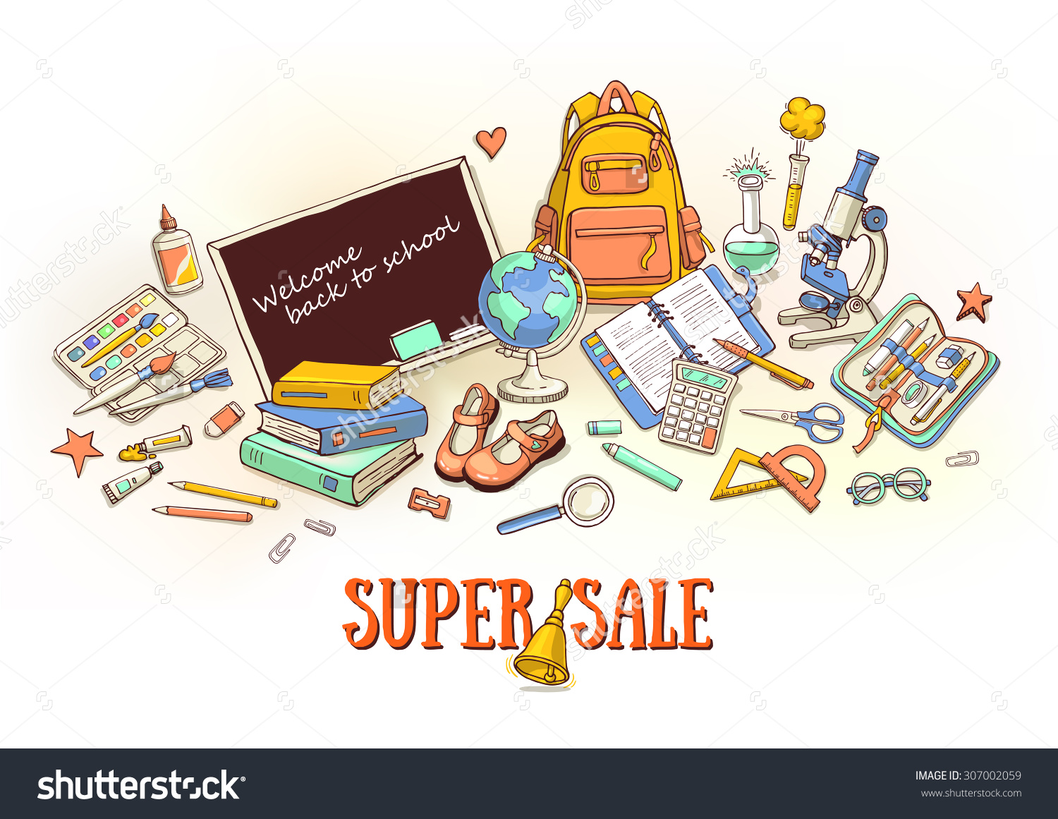 Hand Drawn Template Back School Object Stock Vector 307002059.