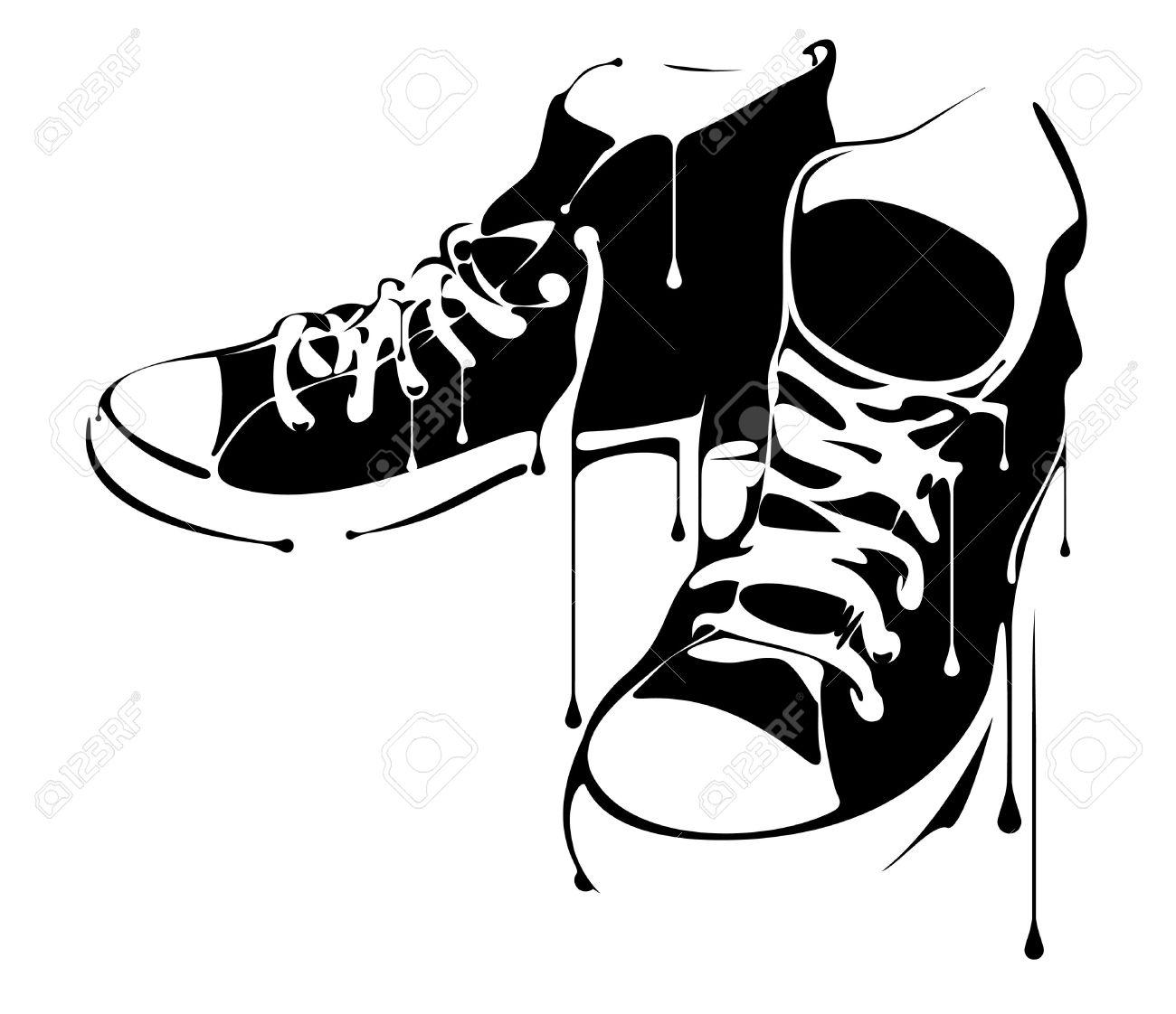 Hip hop shoes clipart.