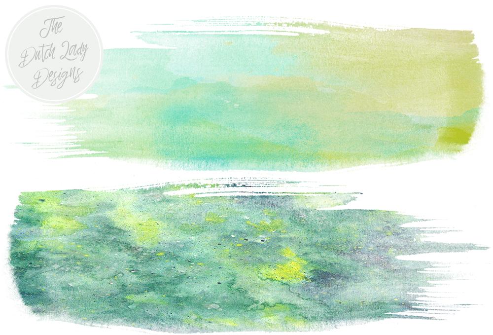 Green Paint Smear Clipart Set.