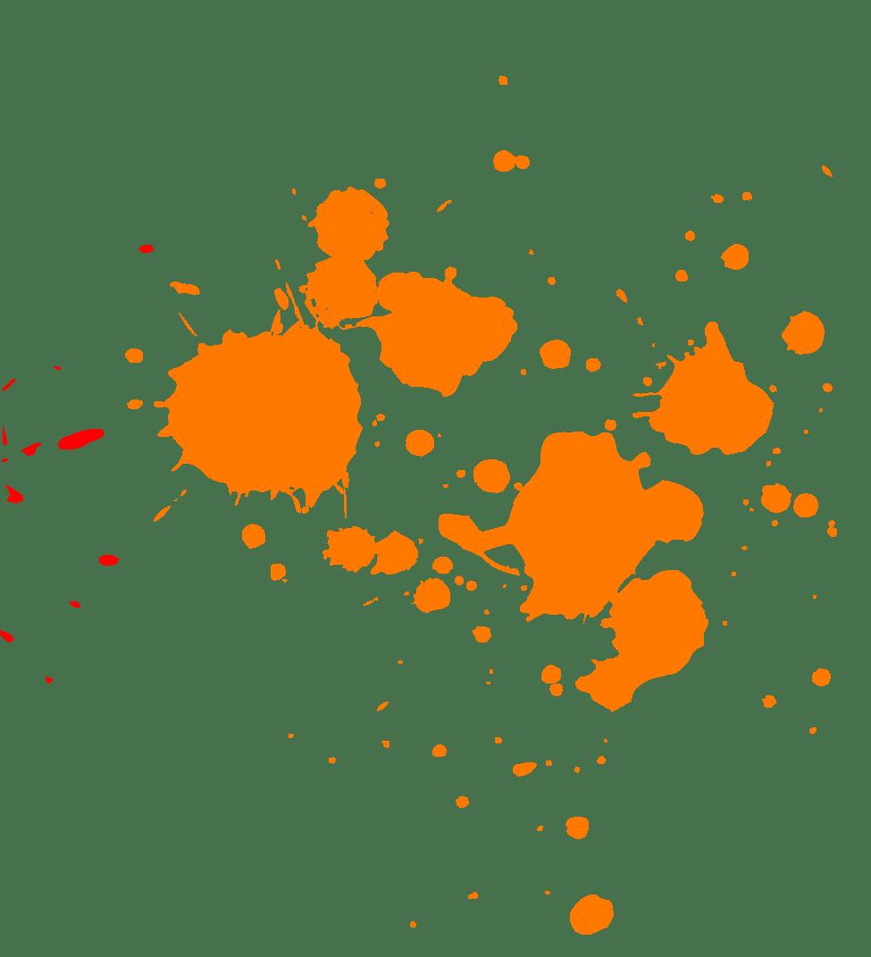 Orange Paint Splatter transparent PNG.