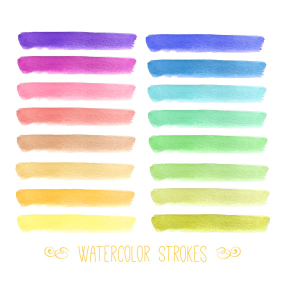 Watercolor Paint Strokes // Digital Download PNG // Rainbow.