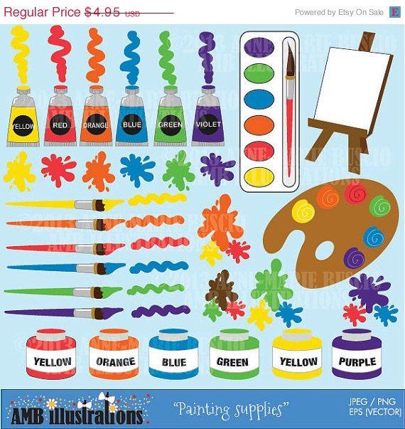 Painting supplies clipart, paint brush clipart, paint blob.