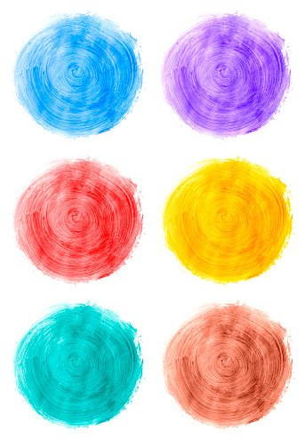 Multicolored paints on white (color swatch) Clipart Image.