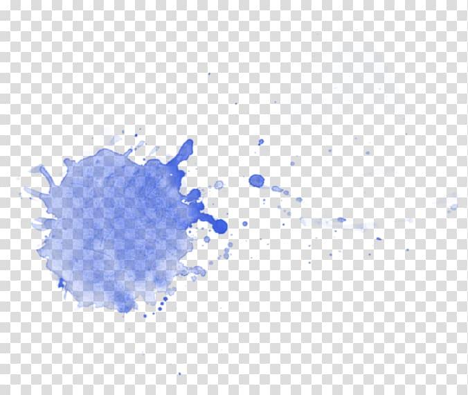 Blue paint splash, Watercolor painting Texture Art.