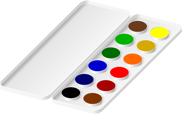 watercolors paint tray.