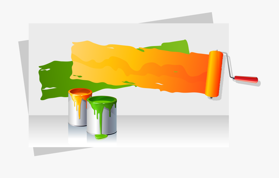 Color Bucket Paint Vector Painting Roller Clipart.