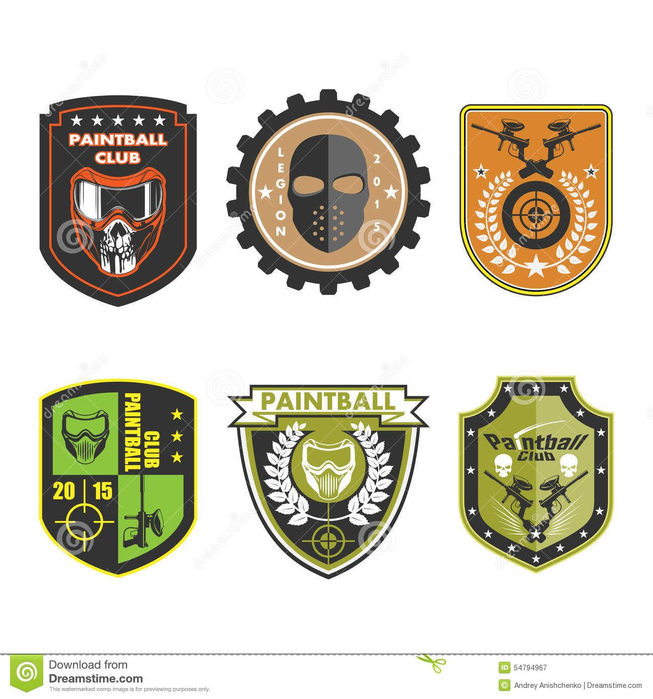 Paintball Team Logo Badge stock vector. Illustration of.
