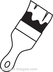 Paint Brush Clip Art Black And White.