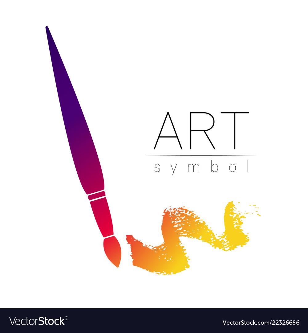 Modern logo sign of drawing art paint brush.