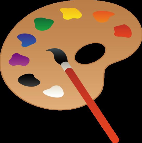 Paintbrush palette and paint brush line art free clip school.