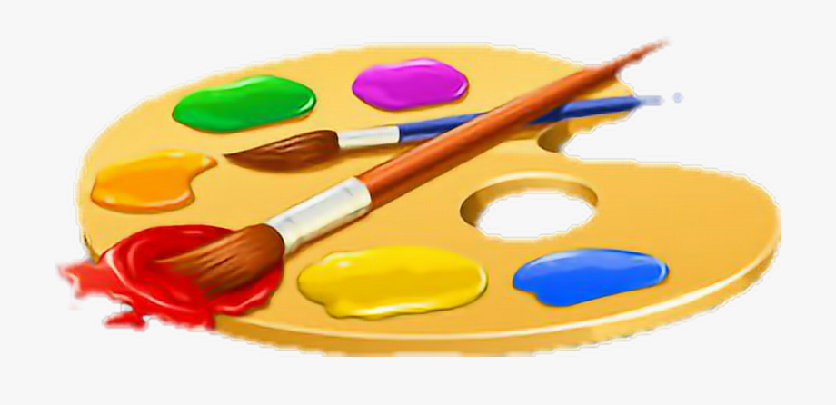 Transparent Paintbrush And Palette Png.