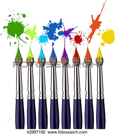 Clipart of Paint brushes and colored butterflies rainbow k2551594.