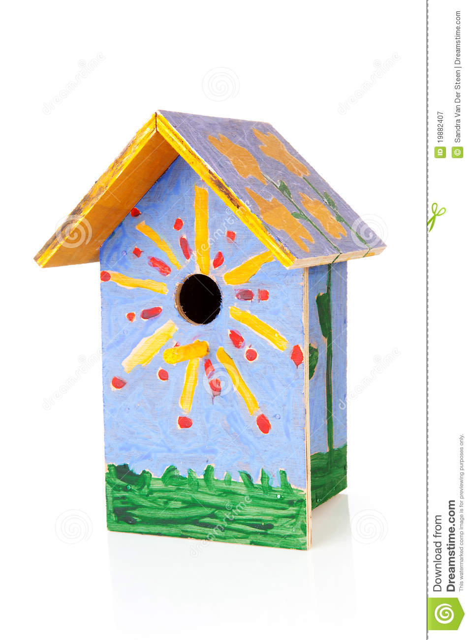 Colorful Birdhouse Painted By Children Royalty Free Stock.