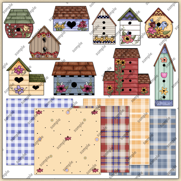 Painted Bird House ClipArt Graphic Collection.