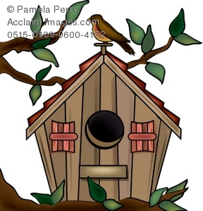 Clip Art Illustration of a Painted Birdhouse.