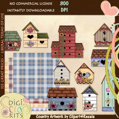 Country Birdhouse Clipart.