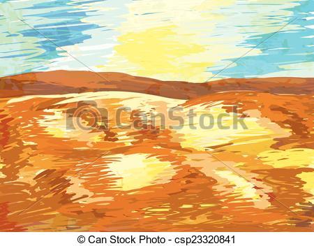 EPS Vector of hand painted desert landscape vector background.