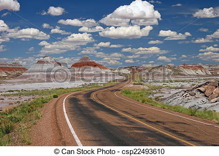 Stock Photography of Teepee Rock Formations in Painted Desert.