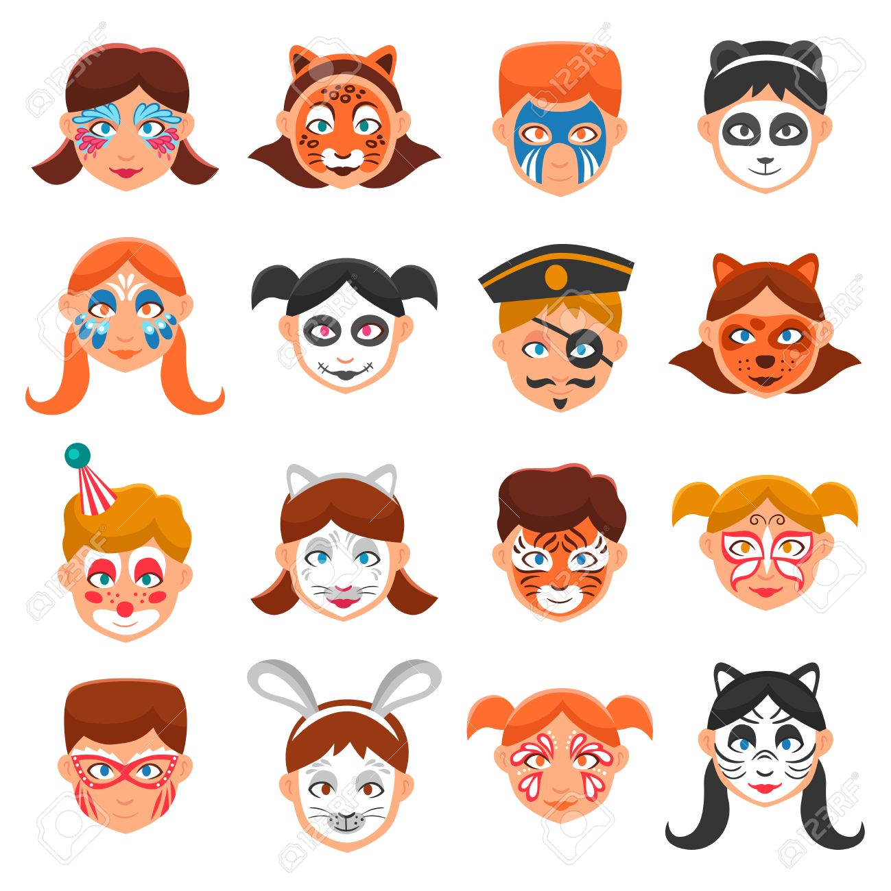 Painted faces clipart - Clipground