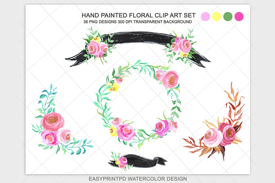 Hand Painted Flowers Clip Art Set.