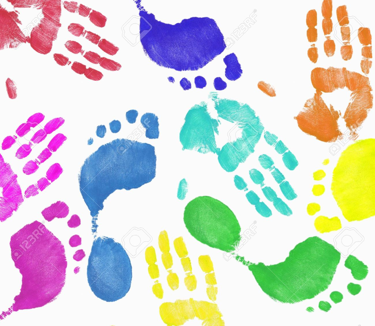 Multi Colored Finger Painted Hand And Footprint Pattern Stock.