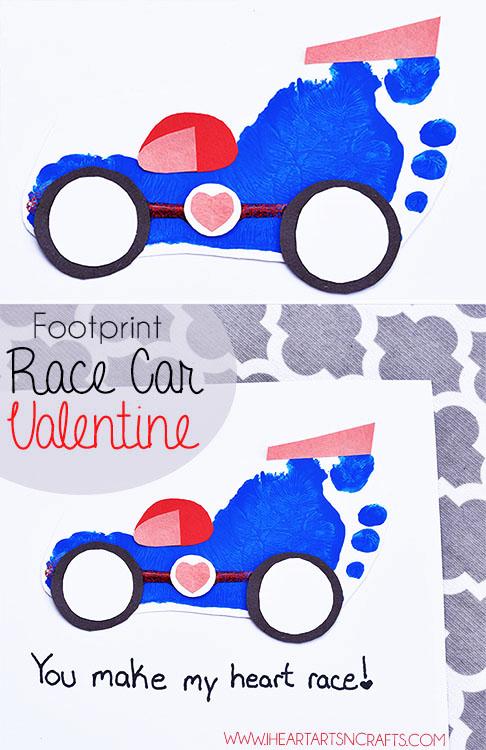 Footprint Race Car Valentine Craft.