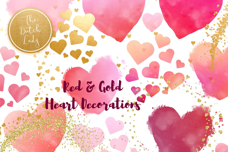 Painted Hearts & Golden Decoration Clipart Set.