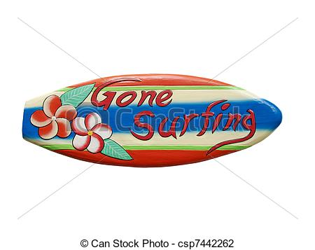 Stock Photo of Gone surfing sign.