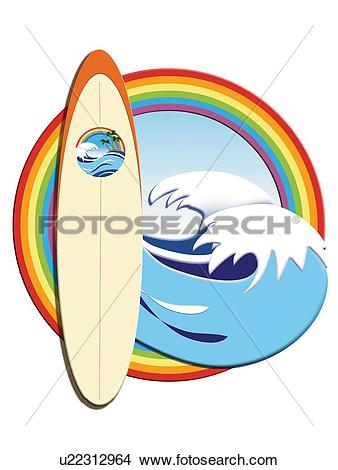 Drawings of Surfboard and Waves in Rainbow Frame, Painting.