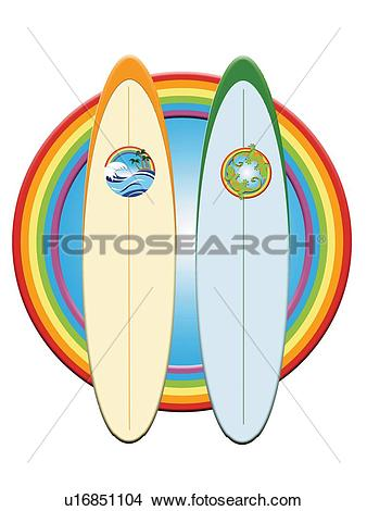 Drawings of Two Surfboards in Rainbow Frame, Painting.