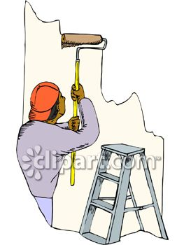 Painter Painting a Wall With a Roller.