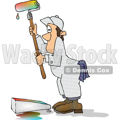 Using a Roller Brush to Paint a Wall With Colorful Paint Clipart.