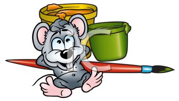 Cute Little Mouse with Paint Pots and a Brush.