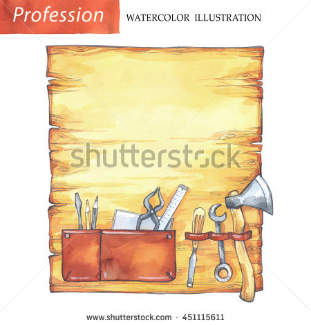 Handpainted Collection Watercolor Wood Planks Clipart Stock.