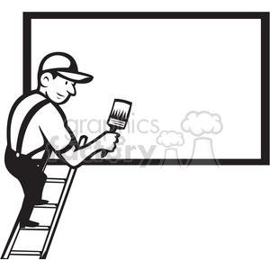 black and white worker painting billboard blank clipart. Royalty.