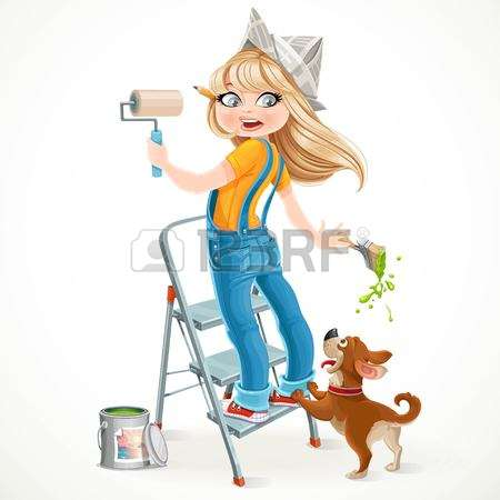 painter painting the world in a ladder clipart #6