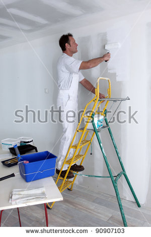 Man Painting Wall Stock Images, Royalty.