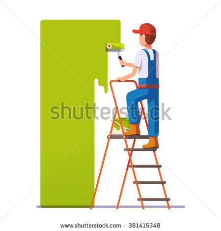 painter painting the world in a ladder clipart #17