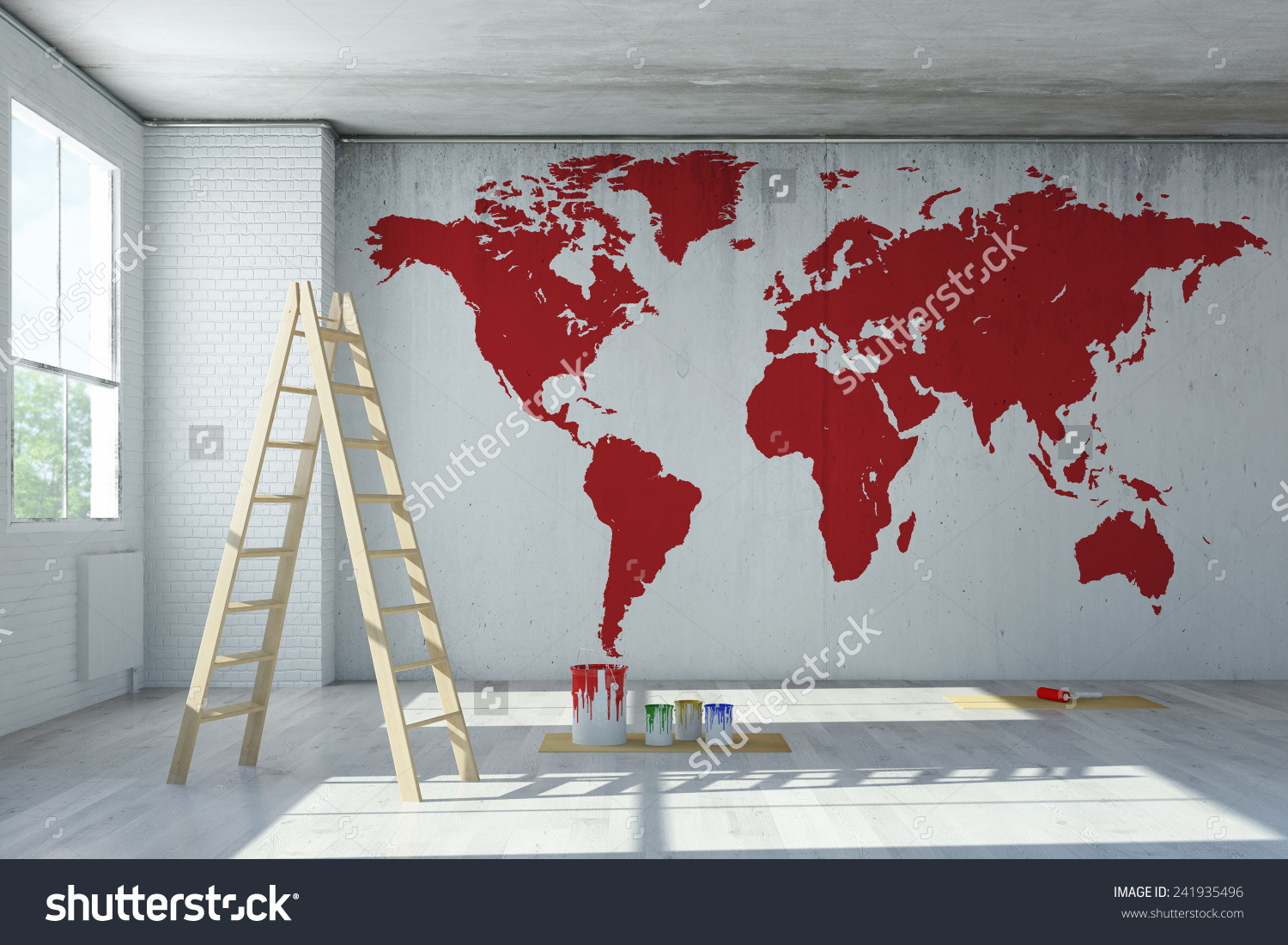 Big Red World Map Painted On Stock Illustration 241935496.
