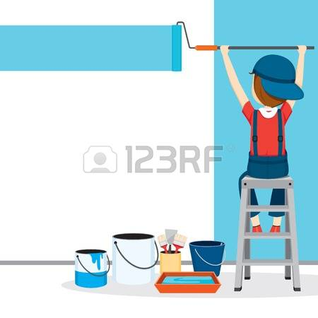 painter painting the world in a ladder clipart #15