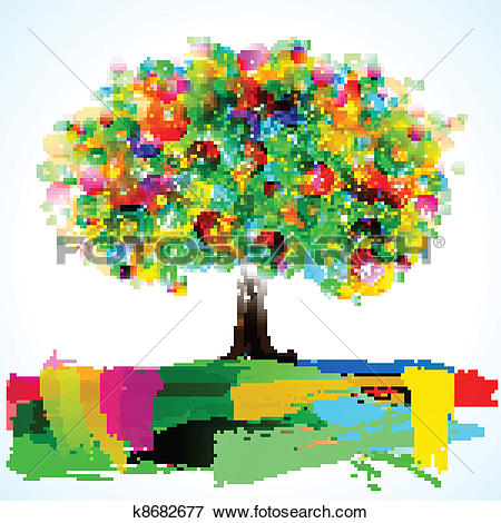 Clip Art of Abstract Painterly Tree k8682677.