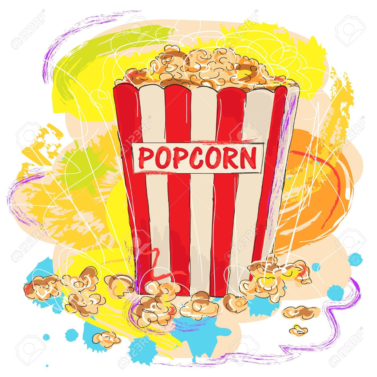 Colorful Tasty Popcorn, Created As Very Artistic Painterly Style.