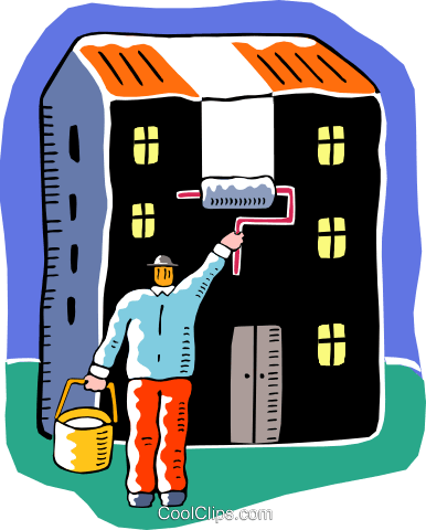 man painting the outside of the house Royalty Free Vector.